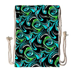 Bright Aqua, Black, And Green Design Drawstring Bag (large)