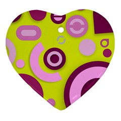 Florescent Yellow Pink Abstract  Heart Ornament (2 Sides) by OCDesignss