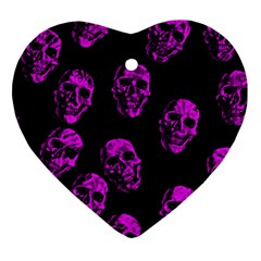 Purple Skulls  Heart Ornament (2 Sides) by ImpressiveMoments