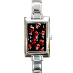 Skulls Red Rectangle Italian Charm Watches