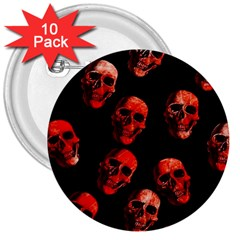 Skulls Red 3  Buttons (10 pack)
