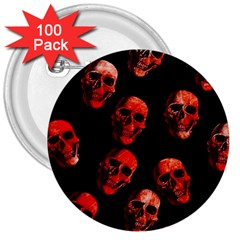 Skulls Red 3  Buttons (100 pack)