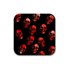 Skulls Red Rubber Coaster (Square)