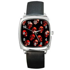 Skulls Red Square Metal Watches