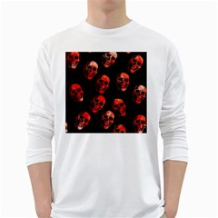 Skulls Red White Long Sleeve T-Shirts