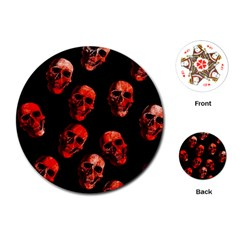 Skulls Red Playing Cards (Round)