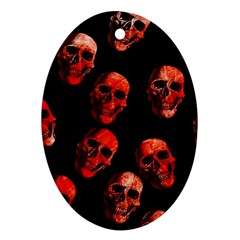Skulls Red Oval Ornament (Two Sides)