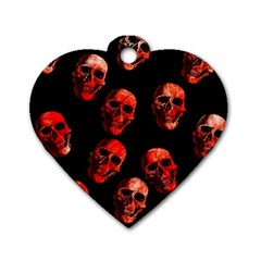Skulls Red Dog Tag Heart (One Side)