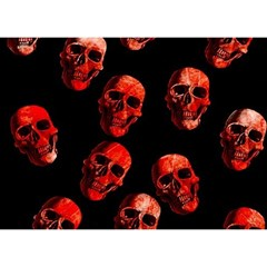Skulls Red Birthday Cake 3D Greeting Card (7x5)
