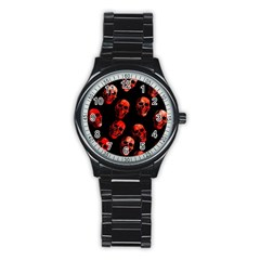 Skulls Red Stainless Steel Round Watches