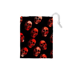 Skulls Red Drawstring Pouches (Small)
