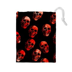 Skulls Red Drawstring Pouches (Large)