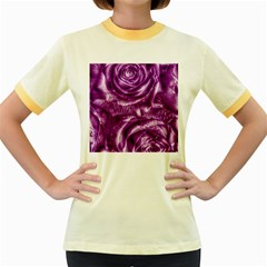 Gorgeous Roses,purple  Women s Fitted Ringer T Shirts