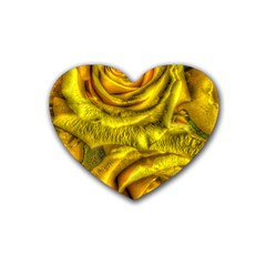 Gorgeous Roses, Yellow  Rubber Coaster (heart)