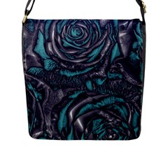 Gorgeous Roses, Aqua Flap Messenger Bag (l)