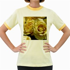 Yellow Roses Women s Fitted Ringer T Shirts