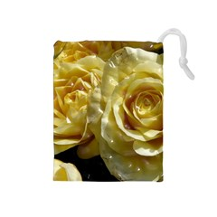 Yellow Roses Drawstring Pouches (medium)  by MoreColorsinLife
