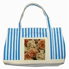 Great Garden Roses, Vintage Look  Striped Blue Tote Bag
