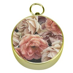Great Garden Roses, Vintage Look  Gold Compasses
