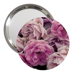 Great Garden Roses Pink 3  Handbag Mirrors by MoreColorsinLife