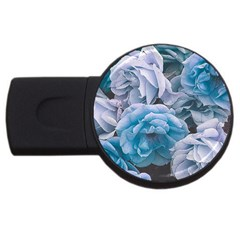Great Garden Roses Blue Usb Flash Drive Round (2 Gb)  by MoreColorsinLife