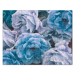 Great Garden Roses Blue Rectangular Jigsaw Puzzl by MoreColorsinLife