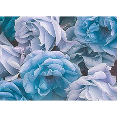 Great Garden Roses Blue Birthday Cake 3d Greeting Card (7x5)