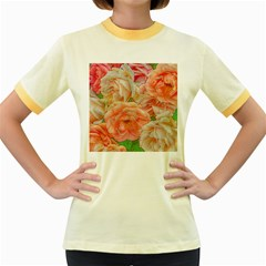 Great Garden Roses, Orange Women s Fitted Ringer T Shirts