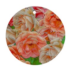 Great Garden Roses, Orange Round Ornament (two Sides)