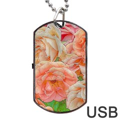Great Garden Roses, Orange Dog Tag Usb Flash (two Sides)