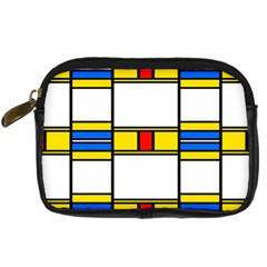 Colorful Squares And Rectangles Pattern Digital Camera Leather Case by LalyLauraFLM