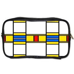 Colorful Squares And Rectangles Pattern Toiletries Bag (two Sides) by LalyLauraFLM