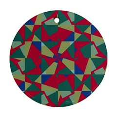 Shapes In Squares Pattern Round Ornament (two Sides) by LalyLauraFLM