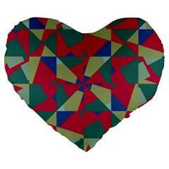 Shapes In Squares Pattern Large 19  Premium Heart Shape Cushion by LalyLauraFLM