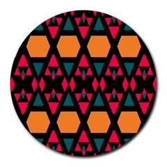 Rhombus And Other Shapes Pattern Round Mousepad by LalyLauraFLM