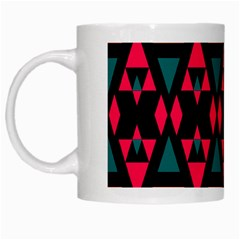 Rhombus And Other Shapes Pattern White Mug by LalyLauraFLM
