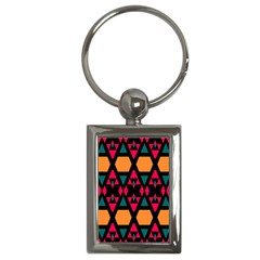 Rhombus And Other Shapes Pattern Key Chain (rectangle) by LalyLauraFLM