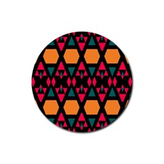 Rhombus And Other Shapes Pattern Rubber Coaster (round) by LalyLauraFLM