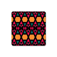 Rhombus And Other Shapes Pattern Magnet (square) by LalyLauraFLM