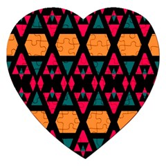 Rhombus And Other Shapes Pattern Jigsaw Puzzle (heart) by LalyLauraFLM