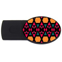 Rhombus And Other Shapes Pattern Usb Flash Drive Oval (4 Gb) by LalyLauraFLM