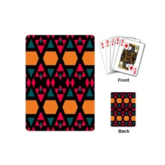 Rhombus And Other Shapes Pattern Playing Cards (mini) by LalyLauraFLM