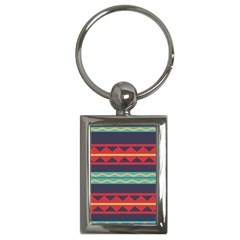 Rhombus And Waves Chains Pattern Key Chain (rectangle)