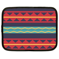 Rhombus And Waves Chains Pattern Netbook Case (xxl) by LalyLauraFLM