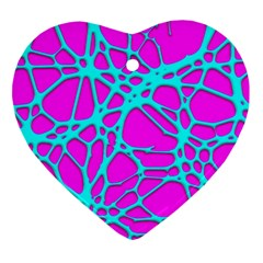 Hot Web Turqoise Pink Ornament (heart)  by ImpressiveMoments
