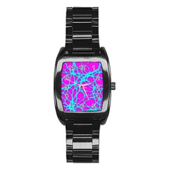 Hot Web Turqoise Pink Stainless Steel Barrel Watch by ImpressiveMoments