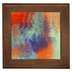 Abstract In Green, Orange, And Blue Framed Tiles by digitaldivadesigns