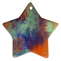 Abstract In Green, Orange, And Blue Ornament (star)  by digitaldivadesigns