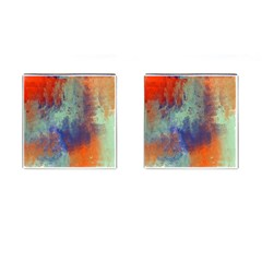 Abstract In Green, Orange, And Blue Cufflinks (square) by digitaldivadesigns