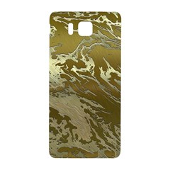 Metal Art Swirl Golden Samsung Galaxy Alpha Hardshell Back Case by MoreColorsinLife